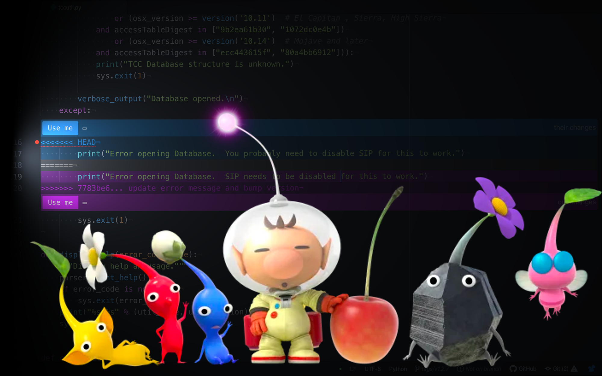 Git Rebase Struggles Conceptualized With Pikmin