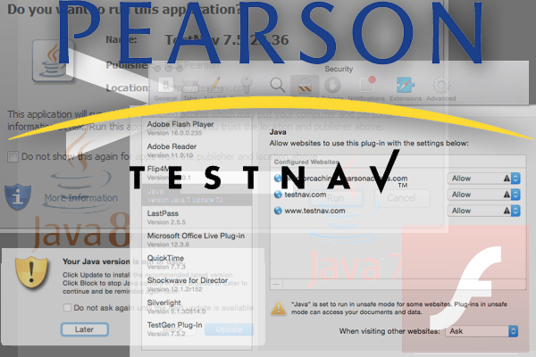 Scripting Pearson's TestNav: Safari and Java Exception Lists
