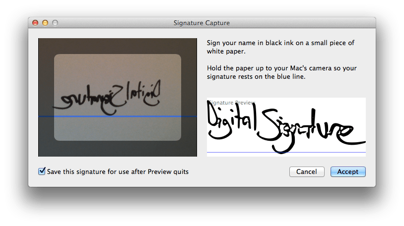 OS X: Sign PDF Documents Using Your Real Signature Using Preview