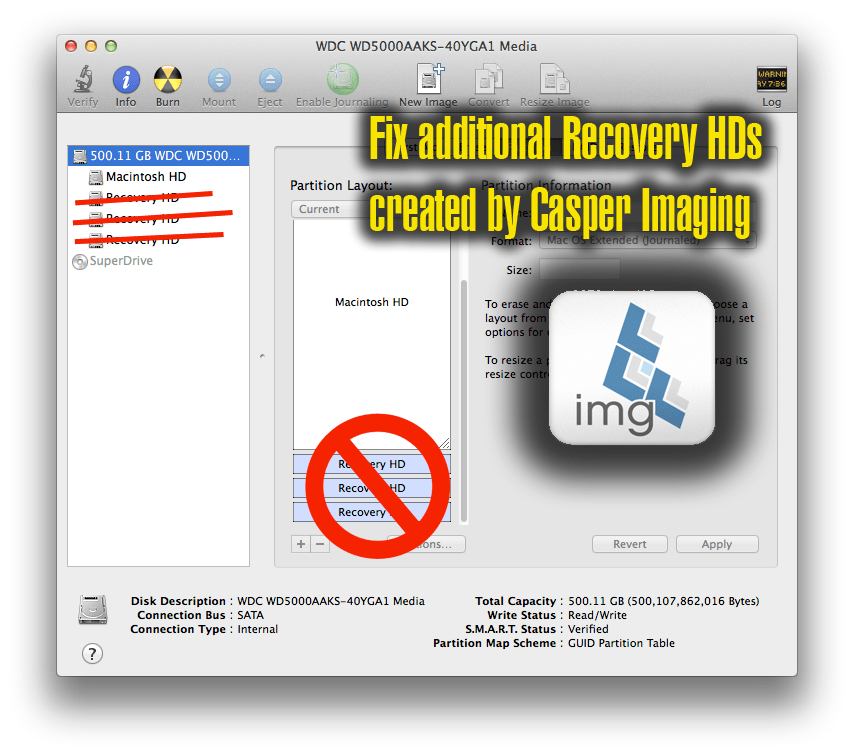 Fix Multiple Recovery HDs (D-007146) Created In Casper Imaging and Nested Configurations